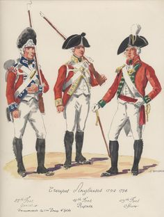 Troupes Anglaises ; 1792-1796. 25th Foot grenadier, 13th.Foot private, 49th,Foot officer.