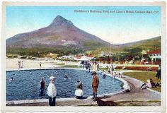 Children's bathing pool and Lion's Head, Camps Bay Old Pictures, Old Photos, Vintage Photos, Nordic Walking, Old Movies, Camps, Cape Town, Landscape Photography, South Africa