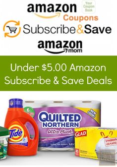 """More and more people are using Amazon Subscribe & Save Deals to get warehouse pricing delivered to their door. But in order to get the 20% discount, you need five subscriptions per month. Here is a list of Subscribe & Save Deals Under $5.00 so you can get to the """"magic 5"""" number and save BIG on your next delivery   KansasCityMamas.com"""