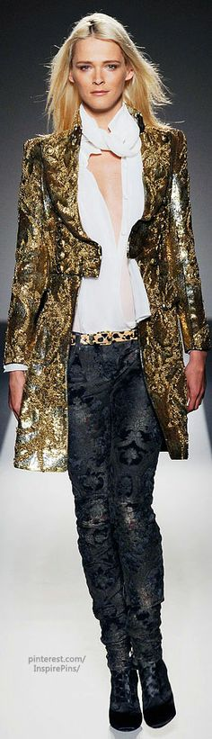 Balmain. Great jacket, love squared shoulders (Carmen Kass, model)