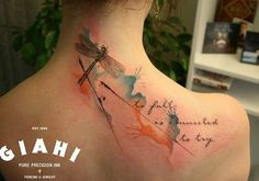 Watercolor dragonfly with quote tattoo - to fall is connected to try