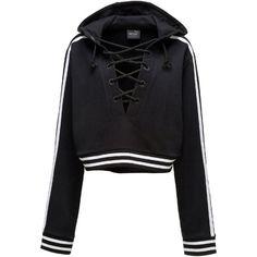 Fenty Puma By Rihanna Lace-Up Hoodie Sweatshirt ($150) ❤ liked on Polyvore featuring tops, hoodies, puma black, hooded sweatshirt, long sleeve hoodie, hooded crop top, lace-up tops and cropped hooded sweatshirt