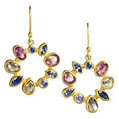 Petra Class Multicolored Montana Sapphire Gold Radial Drop Earrings | From a unique collection of vintage dangle earrings at https://www.1stdibs.com/jewelry/earrings/dangle-earrings/