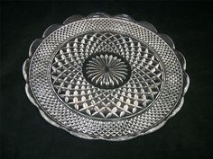 VTG 1960s Anchor Hocking Clear Wexford Pressed Glass Cupped Edge Torte Plate EUC $40