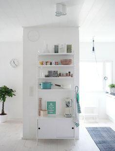 String shelf for the kitchen interior design, hotel interiors, string shelv, open shelves, kitchen shelves, kitchen storage, home interiors, design interiors, architecture interiors