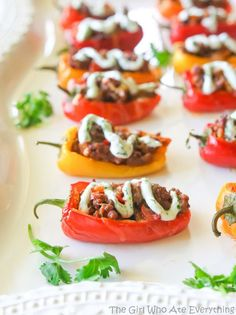 Mini Taco-Stuffed Peppers | 27 Low-Carb Versions Of Your Favorite Comfort Foods Cant Wait, 2 Week Diet, Shit Happens, Low Carb Recipes, Foods, Eat, Canning, Amazing, Healthy