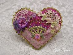 Victorian inspired crazy quilt heart pin by GlosterQueen on Etsy