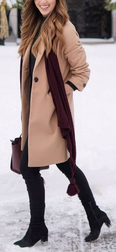 WINTER WARM TONE OUTFIT: this camel coat is on sale! Style camel with burgundy accessories and black skinny jeans = perfect classic winter look. #fashion #winteroutfit #camel by Marie's Bazaar