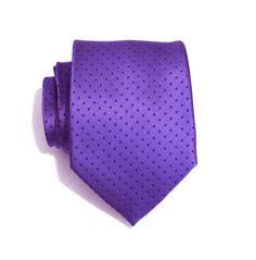 Mens Necktie Purple Dot Silk Necktie