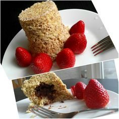 Mug cake with strawberry 🍓🍮  ...1 egg, 3 tbsp oat flakes, 1 banana, 1/2 tsp baking powder, in the middle of mug put a little chocolate candy,   all ingredience mix together, put into a mug and microwave for 3 minutes  ...Done ...bon Apetit 😊🍴