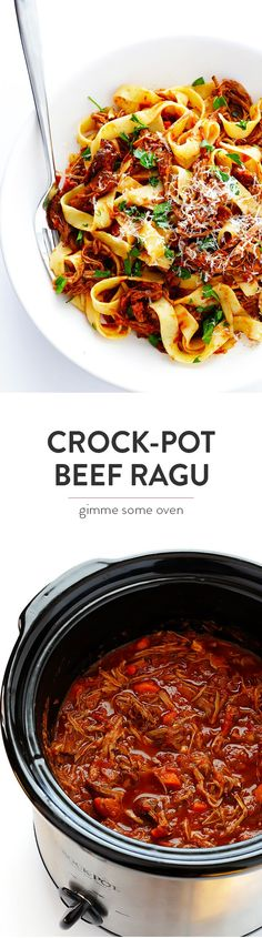This Slow Cooker Beef Ragu recipe is easy to prep and simmered in the most delicious tomato sauce.  Serve it over pasta, polenta, or whatever sounds good! | gimmesomeoven.com