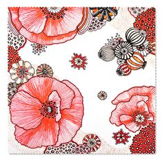 Designer fabric red black white Poppies by OctoButton on Etsy, $6.25