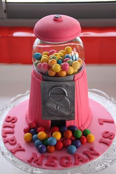 A neat gumball cake. Happy birthday indeed!