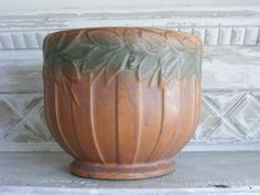 Vintage McCoy Art Pottery Jardiniere Sand by TheAntiquaire on Etsy