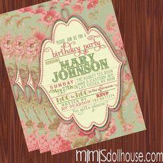 Vintage Invitation- Printable Vintage Floral Birthday Invitation or Shower Invitation PDF/JPEG