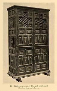 1919 Print Sixteenth Century Spanish Moorish Cupboard Original Historic Image | Ebay