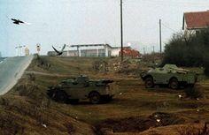 27th of January, 1999, Podujevo. Yugoslav Army armored vehicles take positions on the Pristina Belgrade highway.