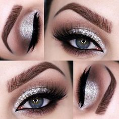 "Toller Weihnachtsparty-Look, Roya Fadai mit in ""Custom"" Deep Brown . - make-up - Eye-Makeup Prom Makeup For Brown Eyes, Prom Eye Makeup, Sparkly Makeup, Silver Eye Makeup, Prom Makeup Looks, Eyeshadow Makeup, Eyeliner, Silver Eyeshadow Looks, Wedding Makeup"