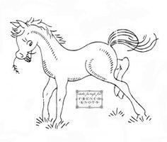 horse embroidery transfer pattern