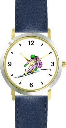 Woman Downhill Alpine Skier No.2 Snow Skiing - WATCHBUDDY® DELUXE TWO-TONE THEME WATCH - Arabic Numbers - Blue Leather Strap-Children's Size-Small ( Boy's Size & Girl's Size ) WatchBuddy. $49.95. Save 38%!