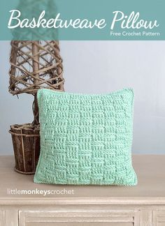 Basketweave Throw Pillow Crochet Pattern   free crochet pattern by Little Monkeys Crochet & Free Pillow Cover Crochet Pattern   Crochet   Pinterest   Crochet ... pillowsntoast.com