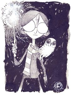 #InkTOBER 01 . Harry, and HedwigOctober brings much things to light. Cooler days, decomposing leaves, and the wonderful treats in the form of cider and freshly made donuts. It also brings up magic, spectacle , and creativity. So I chose mr Harry Potter, and his courageous pet Hedwig as the first to roll out InkTober.The original piece can be purchased from my store. http://jeremytreece.storenvy.com/products/14658294-01-harry-potter-w-hedwig