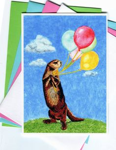Otter with Balloons and Polka Dot Bowtie Card by MILESTOGOwithALI, $5.00