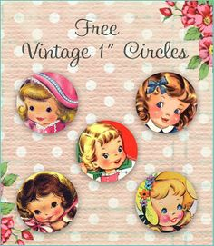 Free Vintage Little Girl Circles by Free Pretty Things For You. ..Stickers