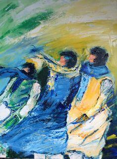 Loes Den Uijl.  Hollands weertje Het stormt buiten, dat bracht mij in een flow en het werd dit winderig schilderij.