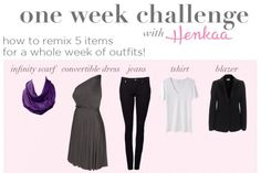 fashion challenge - one week five items - infinity scarf - convertible dress - light packing