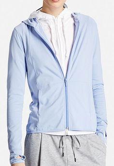 WOMEN AIRism UV Cut Mesh Full Zip Hoodie Blue