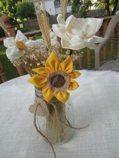Summer Sale  Rustic burlap Fabric flowers centerpiece by darlyndax, $24.00