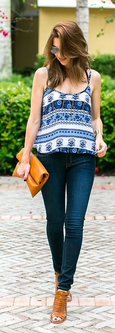 White, Blue And Black Striped Paisley Print Tank Top