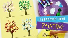 Ana paints a tree for each season. The tree wears a coat for every other season: delicate flowers for spring, rich foliage for summer, rusty garment for autu. Creative Play, Tree Art, Four Seasons, Activities For Kids, Delicate, Make It Yourself, Drawings, Flowers, Crafts