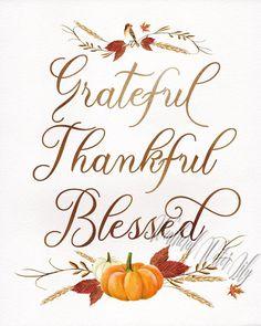 Grateful Thankful Blessed Thanksgiving Print Fall Art Fall   Etsy
