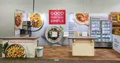 Inline food booth for Good Food Made Simple at the NPEW show. This exhibit, created by Condit, features a fabric back wall, wood texture vinyl flooring and custom serving counters. Trade Show Booth Design, Display Design, Tradeshow Banner Design, Food Stall Design, Food Expo, Exhibition Stall Design, Food Stands, Portable Display, Color Tones