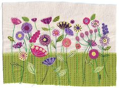 Bright, colorful fabric floral art work. A4 print of original textile artwork 'Spring Flowers'. Applique and free motion machine embroidery.
