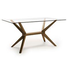 Aeon Furniture 6865-Walnut-Base-Glass-Top Greenwich Rectangular Dining Table in Walnut Glass