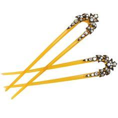 Edwardian Horn and Diamond Hair Pins from France.