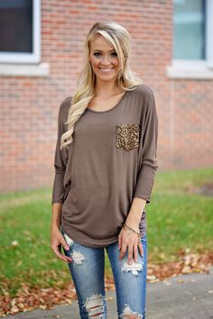 Glam Pocket Top - Light Brown – The Pulse Boutique
