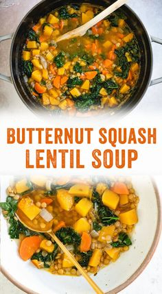 Superfood Butternut Squash Lentil Soup – A Couple Cooks This hearty butternut squash lentil soup is a comforting and nutrient dense soup full of super foods, featuring lentils, kale, and leeks. Lentil Soup Recipes, Veggie Soup, Spinach Soup, Leek Soup, Tomato Soup, Healthy Soup, Healthy Recipes, Dinner Healthy, Fall Vegetarian Recipes