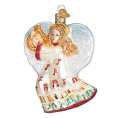 3.5' Old World Christmas Take Note Angel Glass Ornament #10214, White