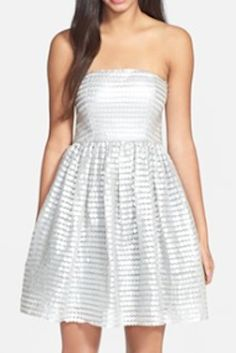 metallic textured strapless fit and flare dress  http://rstyle.me/n/jnd5dpdpe