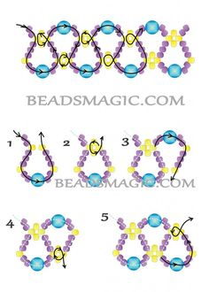 Free pattern for necklace Emprise | Beads Magic -- I think this will make a nice bracelet as well :):