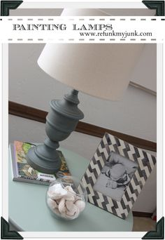 Using Cece Caldwell's chalk paint to paint a brass lamp... I've used Cece Caldwell's paint on furniture before, and it's sooo easy. Looks good on the lamp, too.