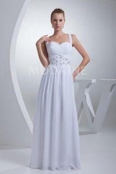 Broderies robe de mariée chiffon perlées drapée plage pas chère
