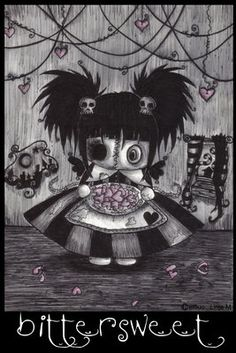 Dolls - Gothic art gallery on We Heart It Gothic Drawings, Art Drawings, Creepy Drawings, Creepy Art, Creepy Dolls, Steampunk, Illustrations, Illustration Art, Pin Up Girls