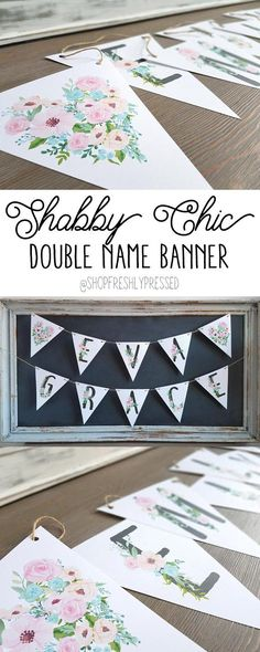 How pretty would these pastel floral name banners look in your daughters room or nursery? A new take on our original floral banner, in shades of pale baby pinks and mints, its perfect for shabby chic decor! Printed on white cardstock each flag measures 8.5 tall x 7.25 wide. Made with rustic twine, banners will have an additional 2 feet of twine on each side for hanging. Personalized banners also make a thoughtful gift and works perfectly for photo shoots and celebrations!  ……………………………………