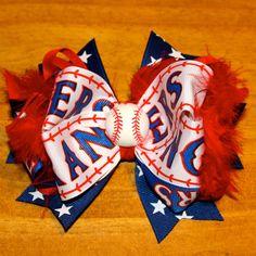 Texas Rangers Baseball Hair Bow by MegansHairCandy on Etsy, $10.00