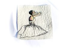 Mini art quilt quilt ballerina mixed media Edgar Degas Ballerine by Crearts on Etsy